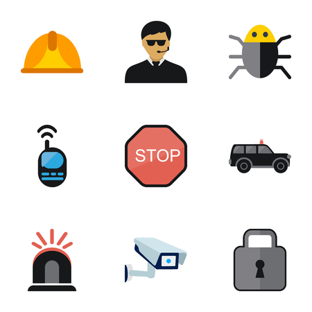Set Of 9 Editable Safety Icons. Includes Symbols Such As Security Camera, Hatchback, Guard And More. Can Be Used For Web, Mobile, UI And Infographic Design. Illustration