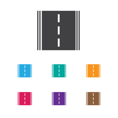 the roadside: Vector Illustration Of Car Symbol On Road Icon. Premium Quality Isolated Highway Element In Trendy Flat Style.