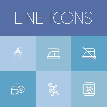 Set Of 6 Editable Cleaning Icons. Includes Symbols Such As Paper, Do Not Iron, Window Cleaner And More. Can Be Used For Web, Mobile, UI And Infographic Design.