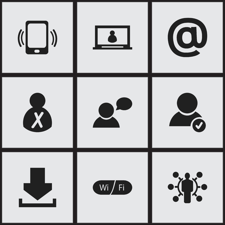 solve: Set Of 9 Editable Web Icons. Includes Symbols Such As Wifi, Smartphone, Skill And More. Can Be Used For Web, Mobile, UI And Infographic Design. Illustration