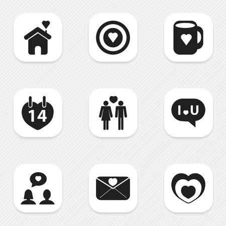 Set Of 9 Editable Love Icons. Includes Symbols Such As Home, Valentines Day, Cap And More. Can Be Used For Web, Mobile, UI And Infographic Design. Illustration
