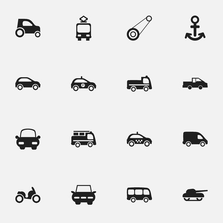 hatchback: Set Of 16 Editable Transport Icons. Includes Symbols Such As City Drive, Shipping, Sheriff And More. Can Be Used For Web, Mobile, UI And Infographic Design.