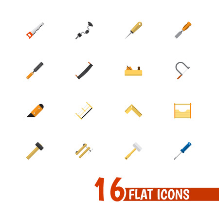 Set Of 16 Editable Tools Icons. Includes Symbols Such As Bodkin, Tool, Jointer And More. Can Be Used For Web, Mobile, UI And Infographic Design.