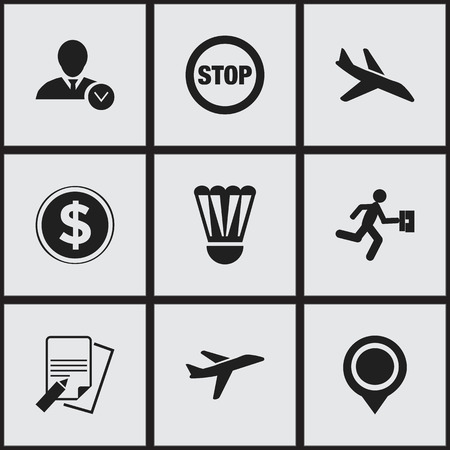 halt: Set Of 9 Editable Complex Icons. Includes Symbols Such As Badminton Ball, Stop, Currency And More. Can Be Used For Web, Mobile, UI And Infographic Design.