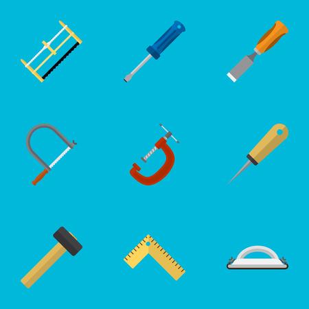 9 편집 가능한 장비 아이콘의 집합입니다. Handsaw, Bit, Emery Paper와 같은 기호가 포함됩니다. 웹, 모바일, UI 및 인포 그래픽 디자인에 사용할 수 있습니다. 일러스트