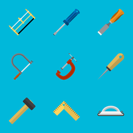 Set Of 9 Editable Equipment Icons. Includes Symbols Such As Handsaw, Bit, Emery Paper. Can Be Used For Web, Mobile, UI And Infographic Design.