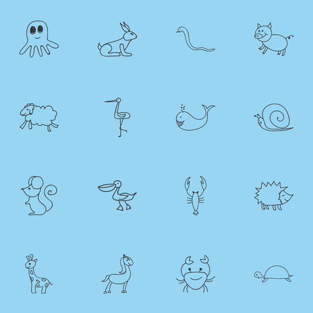 Set Of 16 Editable Animal Icons. Includes Symbols Such As Ewe, Swine, Cachalot And More. Can Be Used For Web, Mobile, UI And Infographic Design. Illustration
