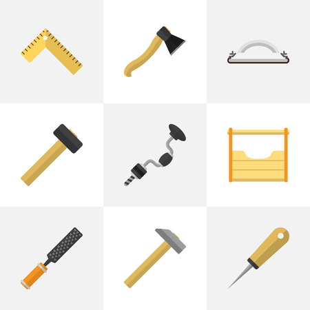 Set Of 9 Editable Tools Icons. Includes Symbols Such As Bodkin, Emery Paper, Hammer And More. Can Be Used For Web, Mobile, UI And Infographic Design.