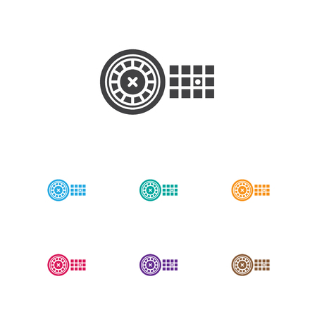 wheel of fortune: Vector Illustration Of Casino Symbol On Roulette Icon. Premium Quality Isolated Fortune Element In Trendy Flat Style.