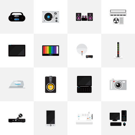 Set Of 16 Editable Tech Icons. Includes Symbols Such As Camera, Antenna, Palmtop And More. Can Be Used For Web, Mobile, UI And Infographic Design.
