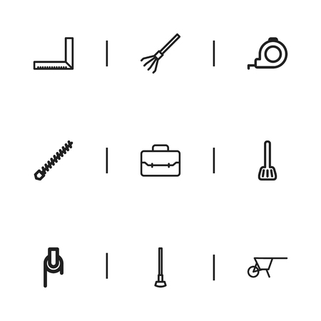 raking: Set Of 9 Editable Equipment Icons. Includes Symbols Such As Handcart, Winch, Tool. Can Be Used For Web, Mobile, UI And Infographic Design.
