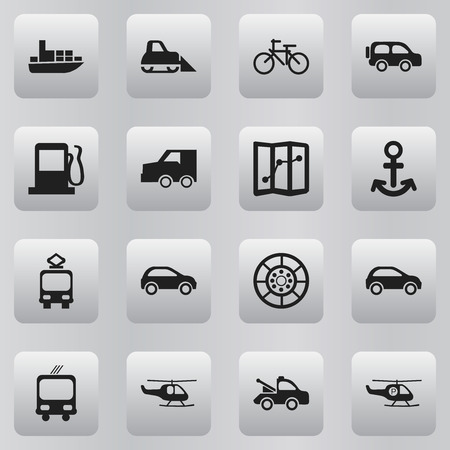 velocipede: Set Of 16 Editable Transportation Icons. Includes Symbols Such As Shipping, Hatchback, Transportation And More. Can Be Used For Web, Mobile, UI And Infographic Design.
