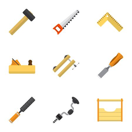 Set Of 9 Editable Tools Icons. Includes Symbols Such As Boer, Rasp, Malleus And More. Can Be Used For Web, Mobile, UI And Infographic Design.