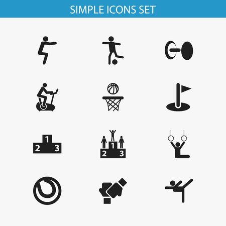 Set Of 12 Editable Fitness Icons. Includes Symbols Such As Competition, Platform For Winner, Flag And More. Can Be Used For Web, Mobile, UI And Infographic Design. Vettoriali