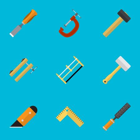 Set Of 9 Editable Instrument Icons. Includes Symbols Such As Rasp , Handsaw, Bit. Can Be Used For Web, Mobile, UI And Infographic Design. Illustration