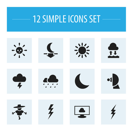 barrage: Set Of 12 Editable Weather Icons. Includes Symbols Such As Stormy, Evaporation Condensation, Night And More. Can Be Used For Web, Mobile, UI And Infographic Design.