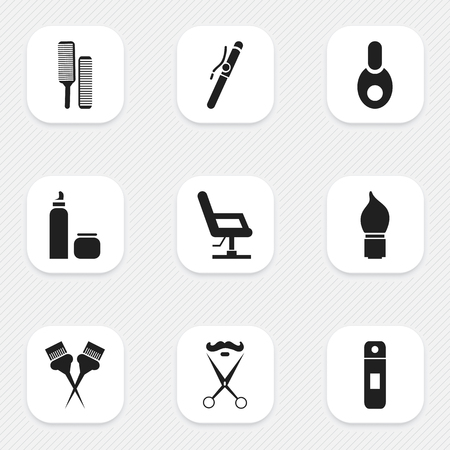 Set Of 9 Editable Barber Icons. Includes Symbols Such As Elbow Chair, Besom, Vial And More. Can Be Used For Web, Mobile, UI And Infographic Design.