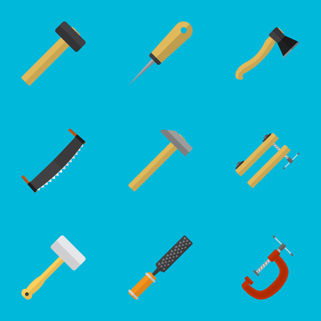Set Of 9 Editable Equipment Icons. Includes Symbols Such As Tool, Axe, Saw And More. Can Be Used For Web, Mobile, UI And Infographic Design.