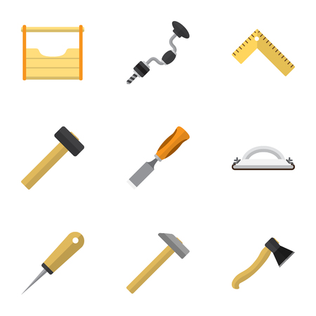 Set Of 9 Editable Tools Icons. Includes Symbols Such As Instruments, Bit, Boer And More. Can Be Used For Web, Mobile, UI And Infographic Design.