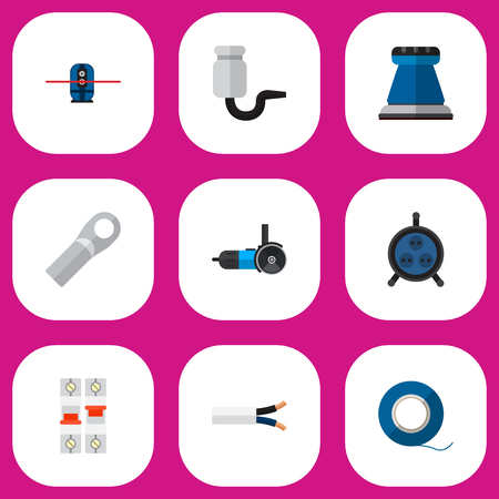 Set Of 9 Editable Electric Icons. Includes Symbols Such As Emery Paper, Connection, Receptacle And More. Can Be Used For Web, Mobile, UI And Infographic Design.