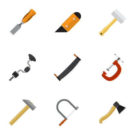 Set Of 9 Editable Equipment Icons. Includes Symbols Such As Axe, Hammer, Clinch And More. Can Be Used For Web, Mobile, UI And Infographic Design.