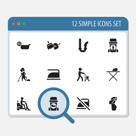 rubbish cart: Set Of 12 Editable Cleaning Icons. Includes Symbols Such As 60 Degrees, Window Cleaner, Ironing And More. Can Be Used For Web, Mobile, UI And Infographic Design.