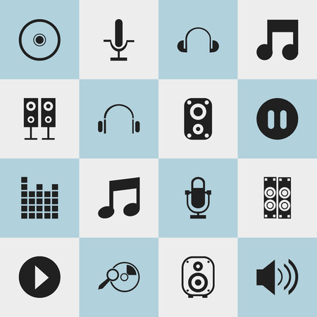 mp3: Set Of 16 Editable Song Icons. Includes Symbols Such As Melody Seeking, Headsets, Phonogram And More. Can Be Used For Web, Mobile, UI And Infographic Design.