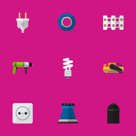 Set Of 9 Editable Electrical Icons. Includes Symbols Such As Terminal Block, Outlet, Sandblast. Can Be Used For Web, Mobile, UI And Infographic Design.