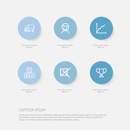 Set Of 6 Editable Education Icons. Includes Symbols Such As A B C, Bus, Mark And More. Can Be Used For Web, Mobile, UI And Infographic Design. Illustration