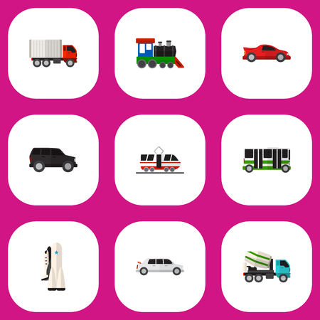 Set Of 9 Editable Car Icons Includes Symbols Such As Limousine
