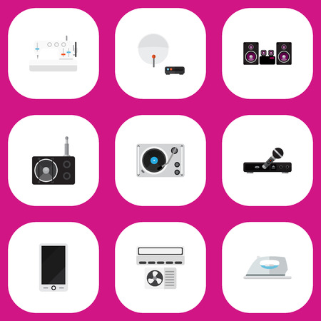 Set Of 9 Editable Technology Icons. Includes Symbols Such As Sewing Machine, Turntable, Microphone And More. Can Be Used For Web, Mobile, UI And Infographic Design.