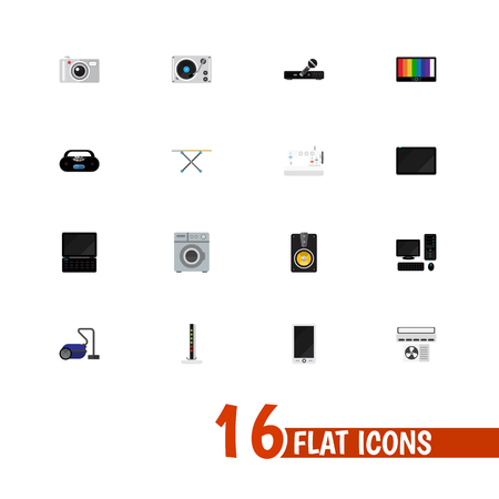 Set Of 16 Editable Technology Icons. Includes Symbols Such As Laundromat, Modem, Cloth Iron And More. Can Be Used For Web, Mobile, UI And Infographic Design.