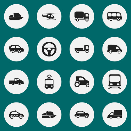 camion: Set Of 16 Editable Transport Icons. Includes Symbols Such As Haulage, Drive Control, Emergency Copter And More. Can Be Used For Web, Mobile, UI And Infographic Design.