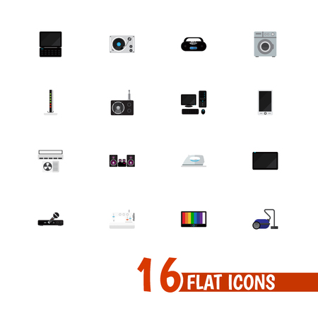 Set Of 16 Editable Home Icons. Includes Symbols Such As Microphone, Notebook, Personal Computer And More. Can Be Used For Web, Mobile, UI And Infographic Design. Çizim