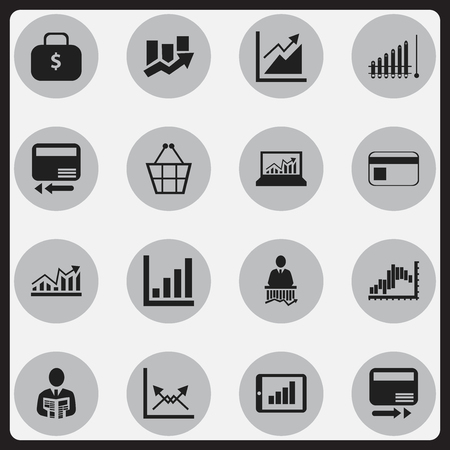 logical: Set Of 16 Editable Analytics Icons. Includes Symbols Such As Report, Credit Card, Businessman And More. Can Be Used For Web, Mobile, UI And Infographic Design.