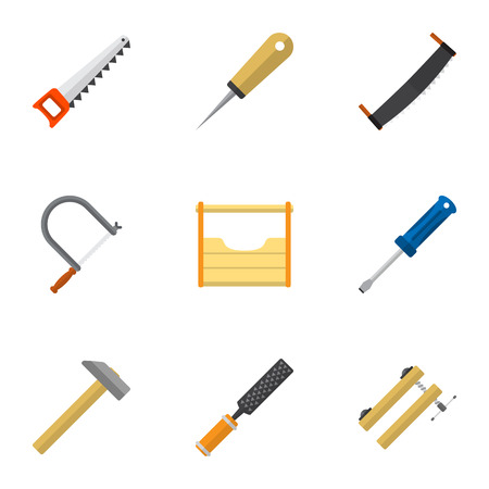 Set Of 9 Editable Tools Icons. Includes Symbols Such As Hammer, Instruments, Hacksaw And More. Can Be Used For Web, Mobile, UI And Infographic Design.