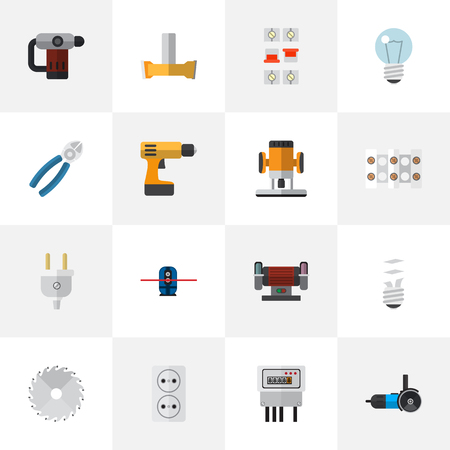 Set Of 16 Editable Electric Icons. Includes Symbols Such As Orifice, Geodesist, Electric And More. Can Be Used For Web, Mobile, UI And Infographic Design. Illustration