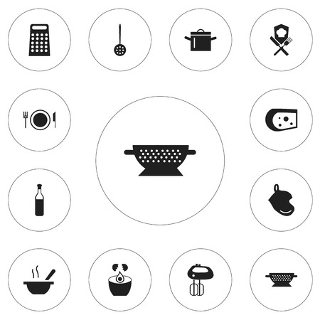 coking: Set Of 12 Editable Restaurant Icons. Includes Symbols Such As Bowl, Beer, Plate And More. Can Be Used For Web, Mobile, UI And Infographic Design. Illustration