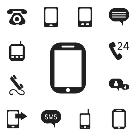 gps device: Set Of 12 Editable Gadget Icons. Includes Symbols Such As Retro Telecommunication, Chatting, Phone And More. Can Be Used For Web, Mobile, UI And Infographic Design.