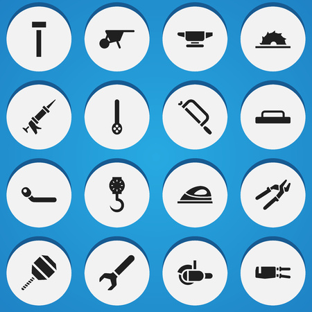 Set Of 16 Editable Tools Icons. Includes Symbols Such As Sealant, Pipe Wrench, Skimmer And More. Can Be Used For Web, Mobile, UI And Infographic Design.