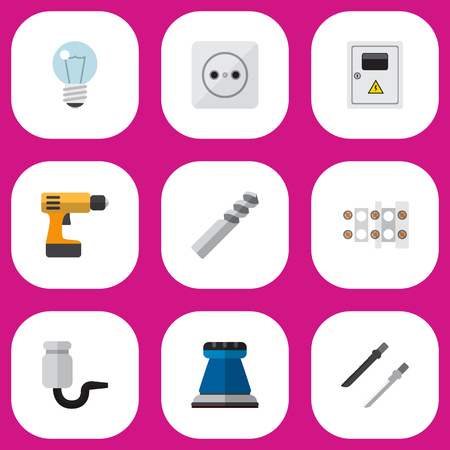 Set Of 9 Editable Instruments Icons. Includes Symbols Such As Terminal Block, Bulb, Rosette And More. Can Be Used For Web, Mobile, UI And Infographic Design.