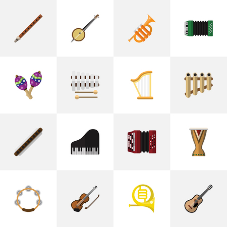 perform: Set Of 16 Editable Sound Icons. Includes Symbols Such As Zither, Harmonica, Piano And More. Can Be Used For Web, Mobile, UI And Infographic Design. Illustration