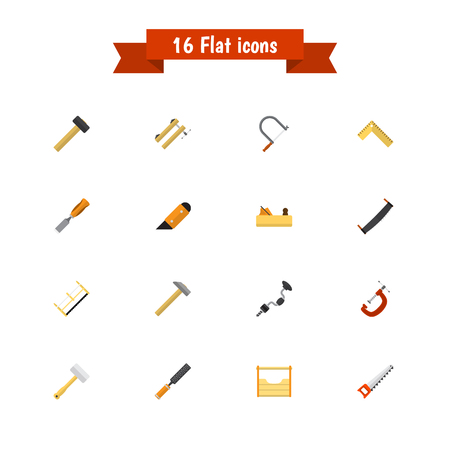 exchanger: Set Of 16 Editable Apparatus Icons. Includes Symbols Such As Hammer , Handsaw, Meter. Can Be Used For Web, Mobile, UI And Infographic Design. Illustration