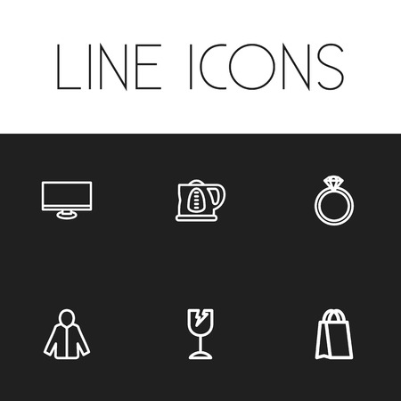 dealing: Set Of 6 Editable Business Icons. Includes Symbols Such As Jewel, Kettle, Display And More. Can Be Used For Web, Mobile, UI And Infographic Design. Illustration
