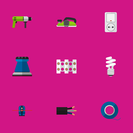 sellotape: Set Of 9 Editable Instruments Icons. Includes Symbols Such As Borer, Terminal Block, Emery Paper And More. Can Be Used For Web, Mobile, UI And Infographic Design. Illustration