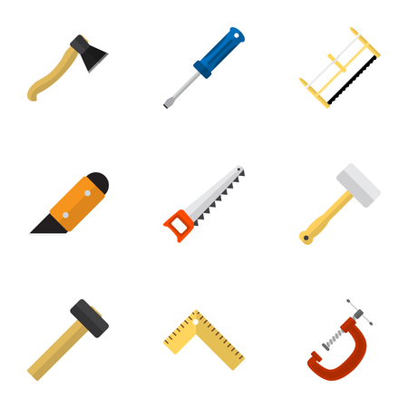 hatchet: Set Of 9 Editable Apparatus Icons. Includes Symbols Such As Turn-Screw, Tool, Nag And More. Can Be Used For Web, Mobile, UI And Infographic Design.