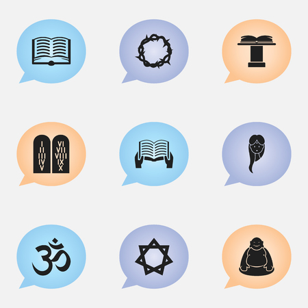 aum: Set Of 9 Editable Religion Icons. Includes Symbols Such As Orator Tribune, Feng ShUI, Hexagram And More. Can Be Used For Web, Mobile, UI And Infographic Design. Illustration