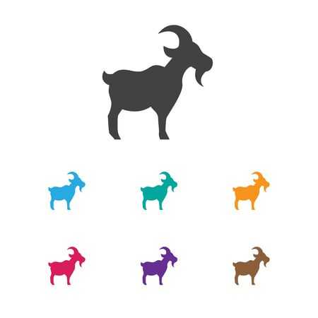 Vector Illustration Of Zoology Symbol On Goat Icon. Premium Quality Isolated Livestock Element In Trendy Flat Style. Illustration