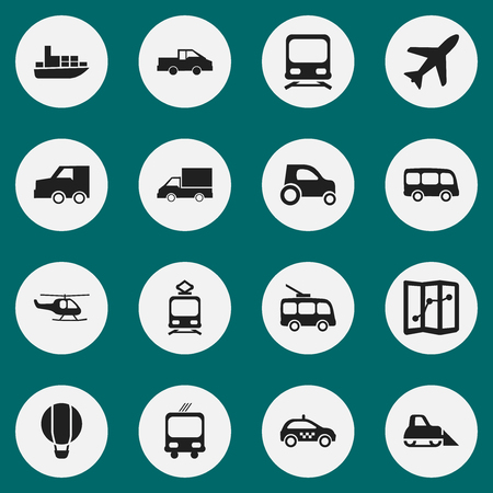 Set Of 16 Editable Transport Icons. Includes Symbols Such As Travel Pickup, Part Of Car, Transportation And More. Can Be Used For Web, Mobile, UI And Infographic Design. Illustration
