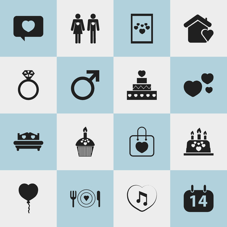 Set Of 16 Editable Love Icons. Includes Symbols Such As Married, Calendar, House And More. Can Be Used For Web, Mobile, UI And Infographic Design.